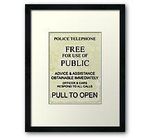 police box sign Framed Print