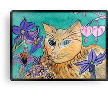 Cat in the flower garden  Canvas Print