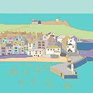 St Ives harbour in purple and blue by Jenny Urquhart