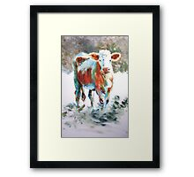 The Courage of Youth - Acrylic Cow Painting Framed Print
