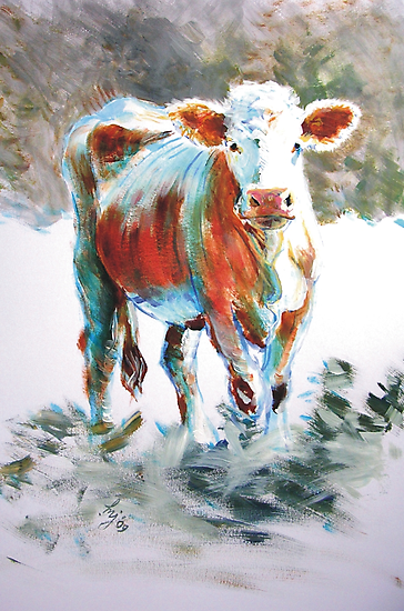 The Courage of Youth - Acrylic Cow Painting by MikeJory