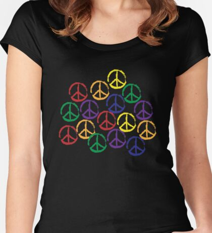 Peace Sign in all colors Women's Fitted Scoop T-Shirt
