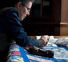 Woman Quilting - on the Farm by timmcmurdo