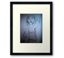 Girl waving  Framed Print