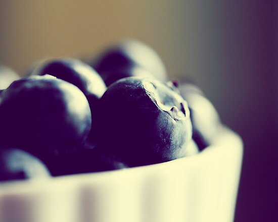 Bowl of Blueberries - Summer Fruit Food Photograph by ameliakayphotog