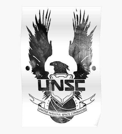 Halo UNSC Faded Watercolor Print Black on White Poster