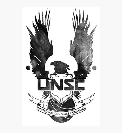 Halo UNSC Faded Watercolor Print Black on White Photographic Print