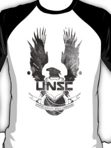 Halo UNSC Faded Watercolor Print Black on White T-Shirt