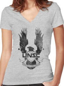 Halo UNSC Faded Watercolor Print Black on White Women's Fitted V-Neck T-Shirt