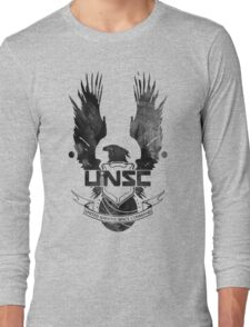 Halo UNSC Faded Watercolor Print Black on White Long Sleeve T-Shirt