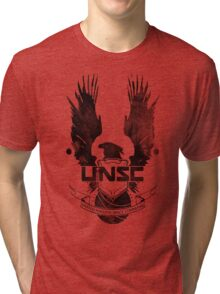 Halo UNSC Faded Watercolor Print Black on White Tri-blend T-Shirt