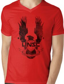 Halo UNSC Faded Watercolor Print Black on White Mens V-Neck T-Shirt