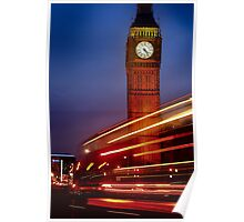 A London Bus Forming Light Trials At Big Ben, Westminster. Poster