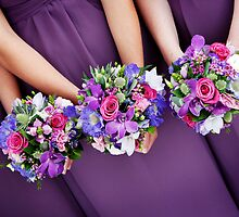 Bridesmaids wedding bouquets by Camille Wesser