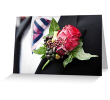 Red Rose Buttonhole of Wedding Groom Greeting Card