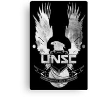 Halo UNSC Faded Watercolor Print White on Black Canvas Print
