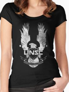 Halo UNSC Faded Watercolor Print White on Black Women's Fitted Scoop T-Shirt