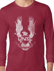 Halo UNSC Faded Watercolor Print White on Black Long Sleeve T-Shirt
