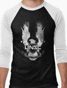 Halo UNSC Faded Watercolor Print White on Black Men's Baseball ¾ T-Shirt
