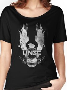 Halo UNSC Faded Watercolor Print White on Black Women's Relaxed Fit T-Shirt