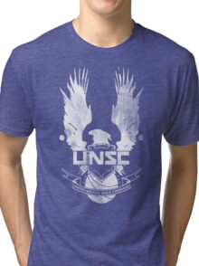 Halo UNSC Faded Watercolor Print White on Black Tri-blend T-Shirt