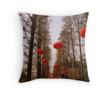 Red lanterns, Changzhou Park Throw Pillow