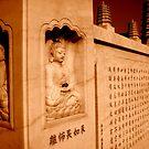 Changzhou Buddhist tower engraving, China by Chris Millar