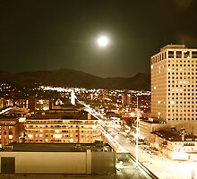 Downtown Salt Lake City at Moonrise by illPlanet