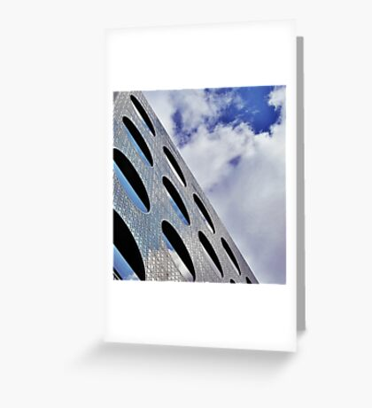 """Reflections on Perforated Steel"""". Circular Façade Study # 1.  Greeting Card"""