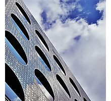 "Reflections on Perforated Steel"". Circular Façade Study # 1.  Photographic Print"