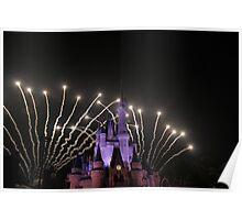 Cinderella's Castle at Fireworks Poster