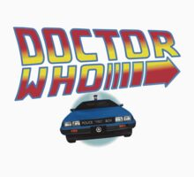 Back to Doctor Who Mash Up with Type 40 Delorean Kids Tee