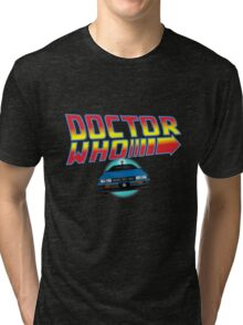 Back to Doctor Who Mash Up with Type 40 Delorean Tri-blend T-Shirt