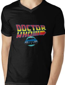 Back to Doctor Who Mash Up with Type 40 Delorean Mens V-Neck T-Shirt