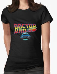 Back to Doctor Who Mash Up with Type 40 Delorean Womens Fitted T-Shirt