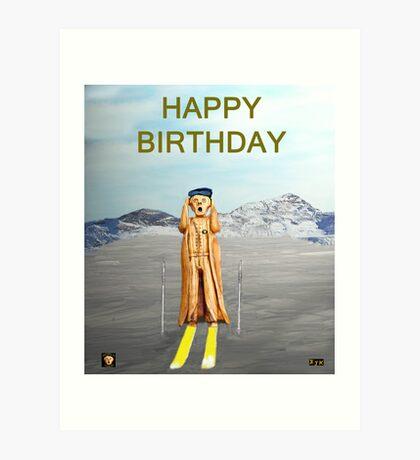 The Scream World Tour Skiing Happy Birthday Art Print