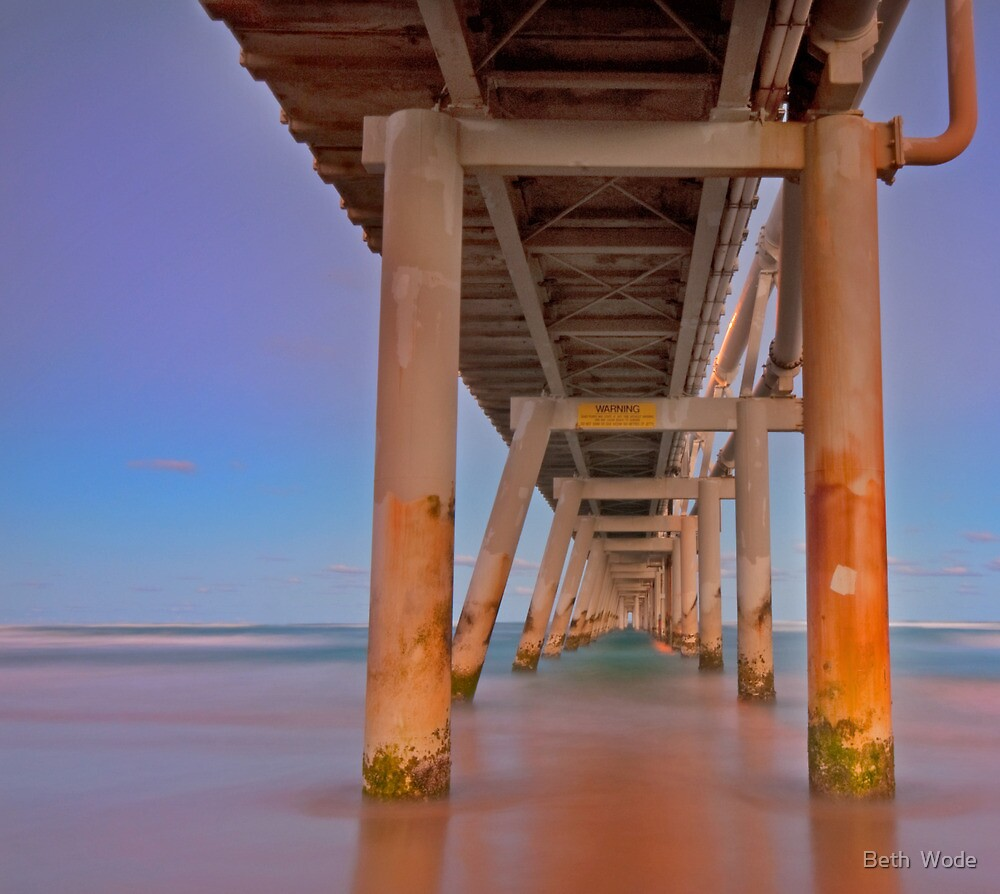 Twilight Under the Jetty -Sandpumping Jetty at the Spit on the Gold Coast Qld by Beth  Wode
