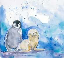 Seal and Penguin by clarehenry