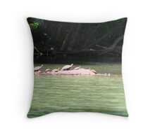 Sunbathing on a log Throw Pillow