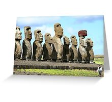 Line of Moai statues, Easter Island Greeting Card
