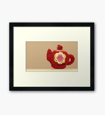 knitted teapot Framed Print