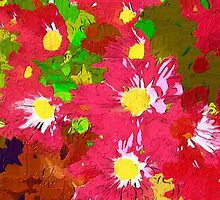 Deep pink daisy chrysanthemums by ♥⊱ B. Randi Bailey