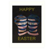Mykonos By Night Happy Easter Art Print