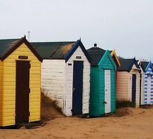 Beach Huts Brightening a Cold Winter Beach by MichelleRees