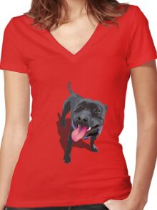 Staffy Blue Women's Fitted V-Neck T-Shirt