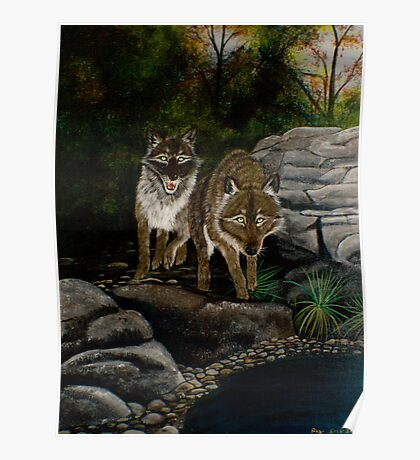 Wolves by the River - Prints & Posters Poster
