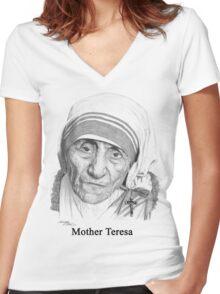 Mother Teresa Women's Fitted V-Neck T-Shirt
