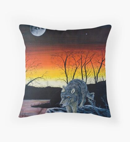 Wolf at Sunset - Greeting Cards Throw Pillow