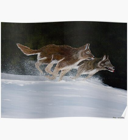 Wolves Run Through the Snow - Prints & Posters Poster