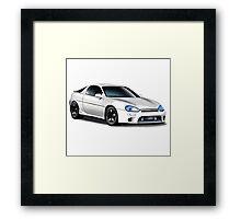 Mazda MX-3 (White car, big text)  Framed Print